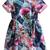 Blue Short Sleeve Floral Flare Dress - Sheinside.com