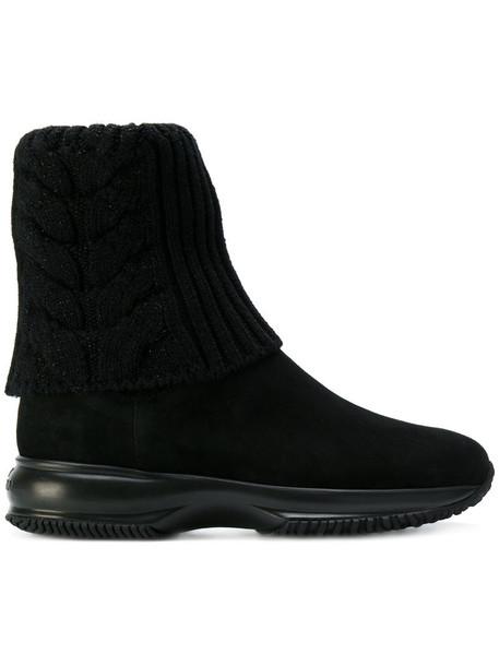 Hogan women leather suede black wool knit shoes