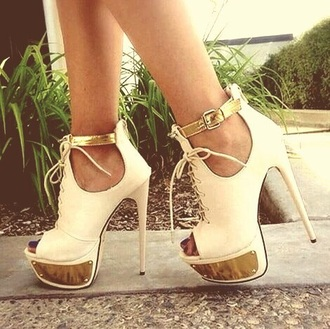 shoes white and gold heels white high heels big heel