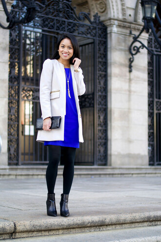 loso fancy blogger shift dress office outfits blue dress jacket dress tights shoes bag jewels opaque tights
