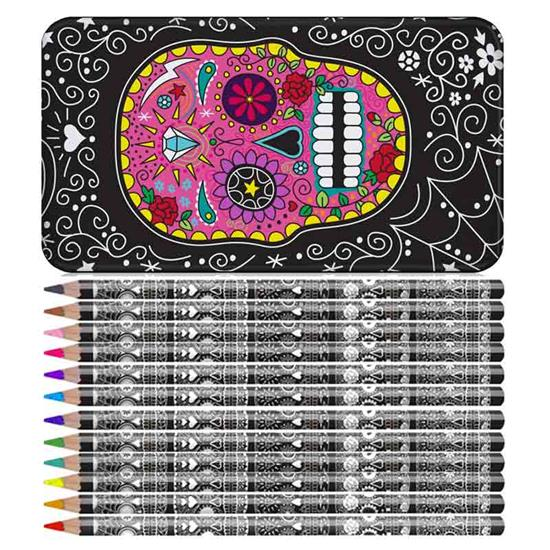 Day Of The Dead Sugar Skull Pencil Tin