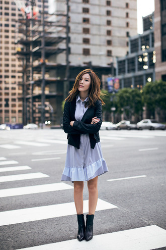 tsangtastic blogger jacket blue dress collared dress dress shoes