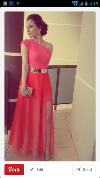 dress prom prom dress coral dress gold formal long prom dresses