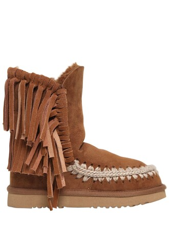 shearling boots boots tan shoes