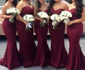 dress,burgundy,mermaid prom dress,bridesmaid