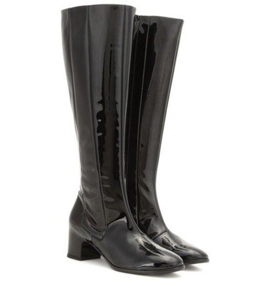 Balenciaga knee-high boots high boots leather black shoes