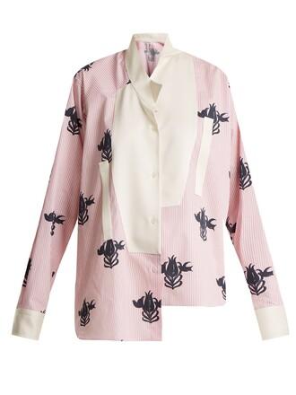 shirt floral cotton print pink top