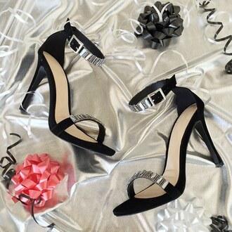 shoes heels holidays holiday party gift ideas presents glitter rhinestones black heels gojane