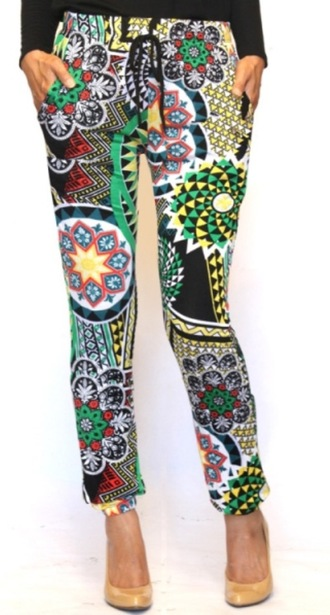 pants womens pants on sale tribal pattern tribal print joggers lightweight multicolor yellow green black red elastic waist affordable clothes womens pants spring fashions summer fashions spring trends 2015 summer trends