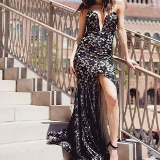 dress gown ball gown dress black lace gown black lace maxi dress black lace slit dress slit dress high slit dress sexy high slit dress black high slit dress prom dress formal dress black formal dress angl