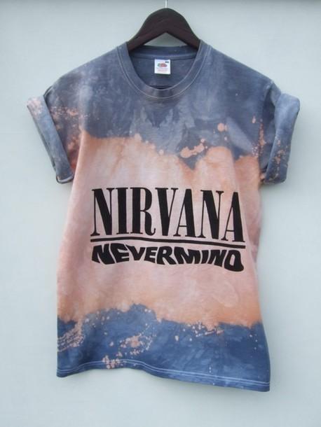 Shirt: t-shirt, graphic tee, band t-shirt, tie dye, nirvana, grey ...