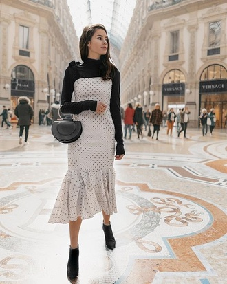 dress top black top bag boots black boots midi dress polka dots bodycon dress turtleneck ankle boots