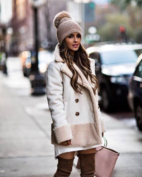 jacket tumblr white jacket beanie pom pom beanie shearling jacket shearling  winter outfits 74973c9b62f