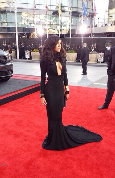 dress red carpet naya rivera black prom dress