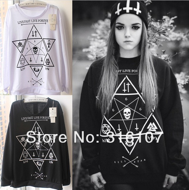 SALE!2013 New Women/Men Skull/ star printed 3D loose Long SLeeve Hoodies Sweatshirts Galaxy sweaters Pullover Tops Free shipping on Aliexpress.com