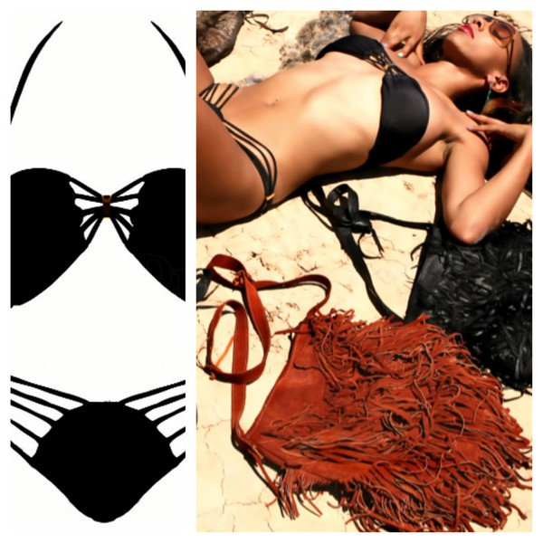 swimwear bohemian boho swimwear chablee leather bag bikini sexy bikini bikini sale bikini swimwear swimsuit model leather shag bags boho leather bags bag ebonylace.storenvy ebonylace.storenvy dress fringed bag
