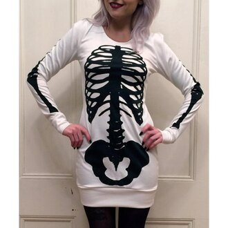 dress goth rose wholesale sweater dress casual bones black and white skeleton badass alternative goth hipster grunge street goth punk