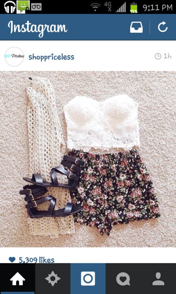 shorts top cardigan