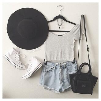 shoes converse hat black grey white shirt denim shorts denim bag