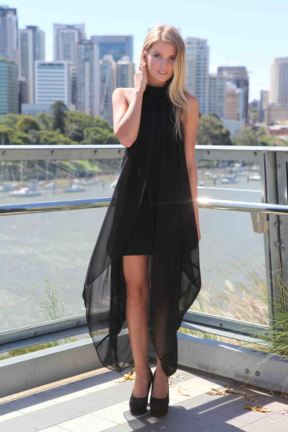 Black Longer Lengths Dress - Black High Neck Ruffle Sleeveless | UsTrendy
