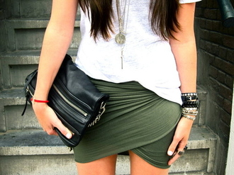 skirt green asymmetrical asymmetrical skirt black clutch bangles zipper wrap skirt bag