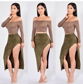 top,long sleeve crop top,long sleeves,summer top,cute top,crop tops,off the shoulder,outfit,outfit idea,summer outfits,cute outfits,spring outfits,date outfit,party outfits,olive green,skirt,pencil skirt,slit skirt,high waisted skirt,clubwear,clothes,fashion,style,stylish,high heels,heels,nude heels,cute high heels,nude high heels,ankle strap heels,shoes,summer shoes,cute shoes,sexy shoes