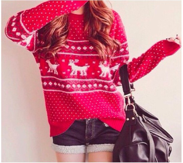 Sweater: christmas, red sweater, deer, christmas sweater, tumblr ...