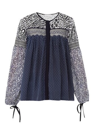 top lace print navy