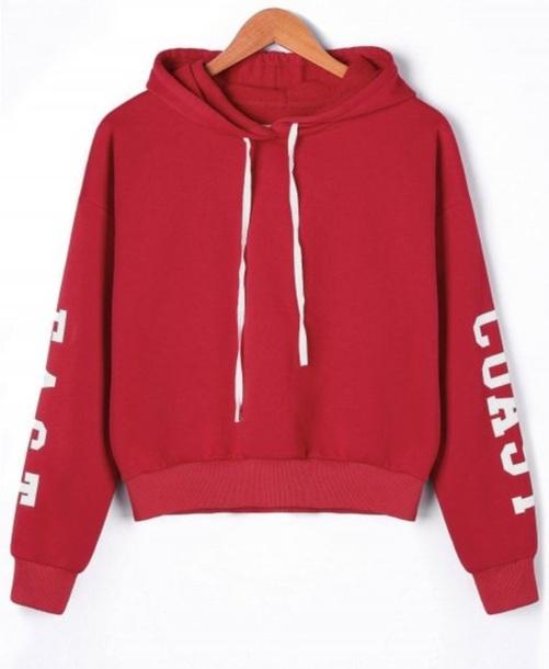 sweater girly red sweatshirt hoodie white