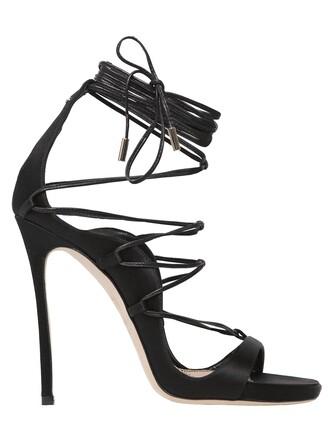 sandals lace satin black shoes