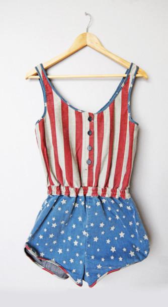 96e2050ec002 pants american flag jumpsuit romper denim usa shorts dress overalls  patriotic red blue white