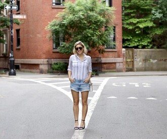 my style pill blogger sunglasses shirt shorts shoes bag sandals denim shorts summer outfits