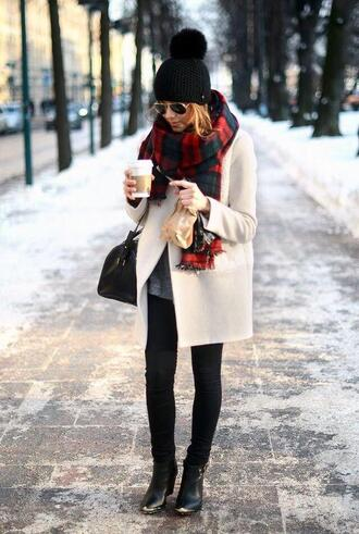 warm scarf flannel scarf pom pom beanie black jeans coat hat jacket wool coat winter outfits