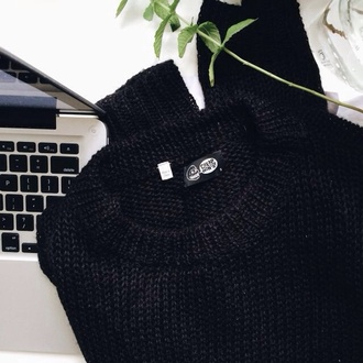 sweater black jumper black sweater knitted sweater tumblr