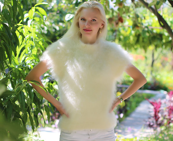 Hand knitted mohair sweater in ivory by SuperTanya by supertanya