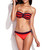 Neon Red Orange Ruffle Push Up Swimwear Bandeau Bikini | Emprada