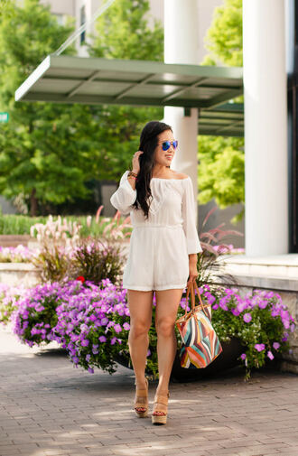 romper sunglasses white off shoulder romper platform sandals colorful bag blogger