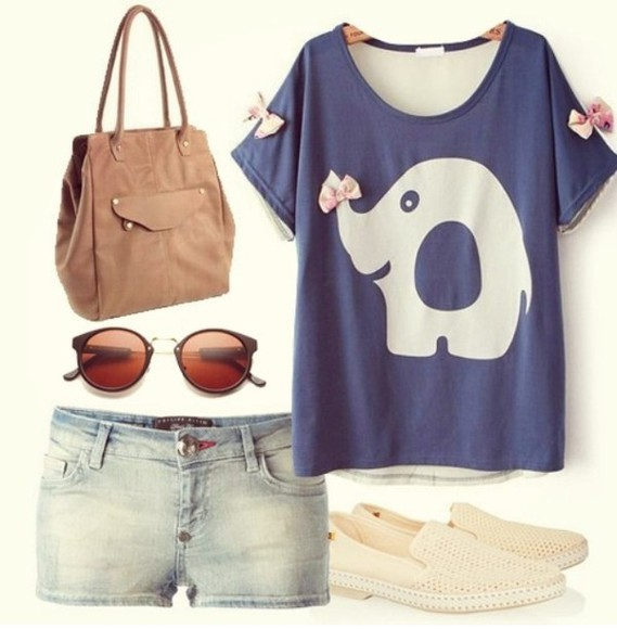 elephant cute blouse shirt girly shoes