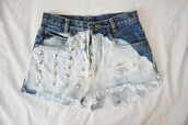 shorts,studs,denim,dip dyed,bleached
