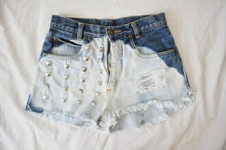 shorts studs denim dip dyed bleached