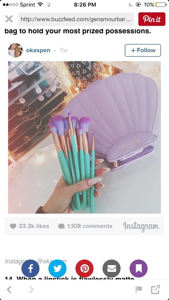 make-up makeup brushes ombre shell mermaid