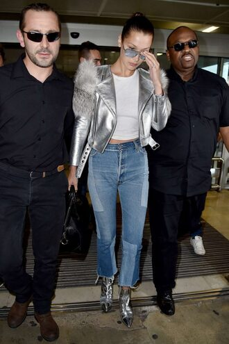 jacket silver metallic biker jacket ankle boots metallic shoes bella hadid cannes top jeans spring outfits model off-duty shoes