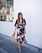 top,floral top,tumblr,floral,floral skirt,matching set,co ord,midi skirt,skirt,asymmetrical,bag,round tote,sandals,shoes