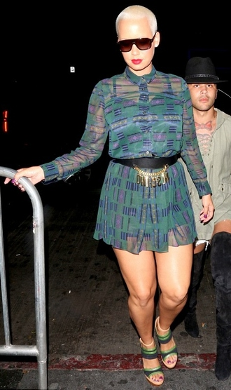 dress belt shirt dress amber rose
