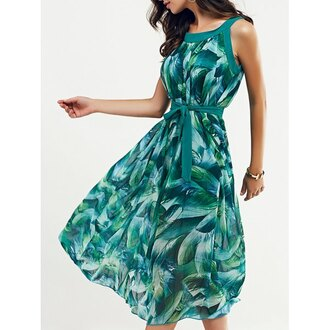 dress rose wholesale green green dress tropical summer leaves fashion