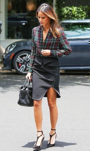 skirt Celebrity work outfits blue skirt work outfits office outfits asymmetrical asymmetrical skirt shirt tartan tartan shirt plaid plaid shirt sandals sandal heels high heel sandals high heels black high heels black sandals bag black bag jamie chung celebrity style celebrity