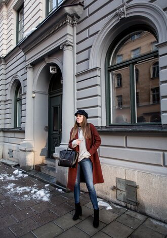 kenza blogger jeans sweater shoes bag coat hat handbag high heels boots black bag celine bag