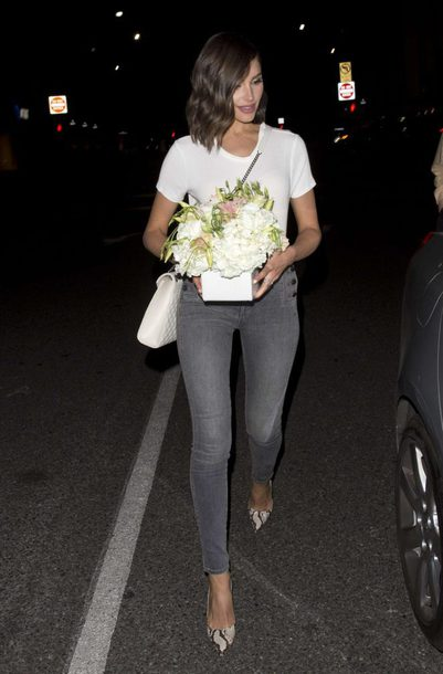 jeans grey grey jeans pumps animal print high heels olivia culpo streetstyle celebrity top spring outfits shoes