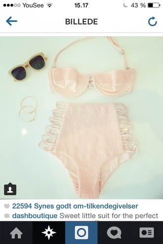 swimwear cream high waisted bikini please!! pink bikini retro
