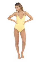 swimwear,full coverage,lolli swimwear,monokini,one piece,polka dots,print,yellow,bikiniluxe